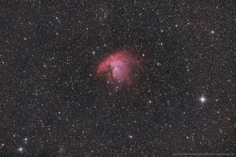 """Anwendung.   Der Pacman-Nebel NGC281, fotografiert von Christoph Kaltseis mit dem 11"""" RASA.  23x180 Sekunden."""