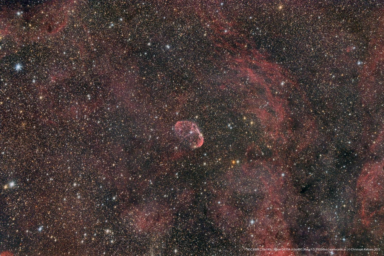 """Anwendung:   Der Sichelnebel NGC6888, fotografiert von Christoph Kaltseis mit dem 11"""" RASA.  20x180 Sekunden"""