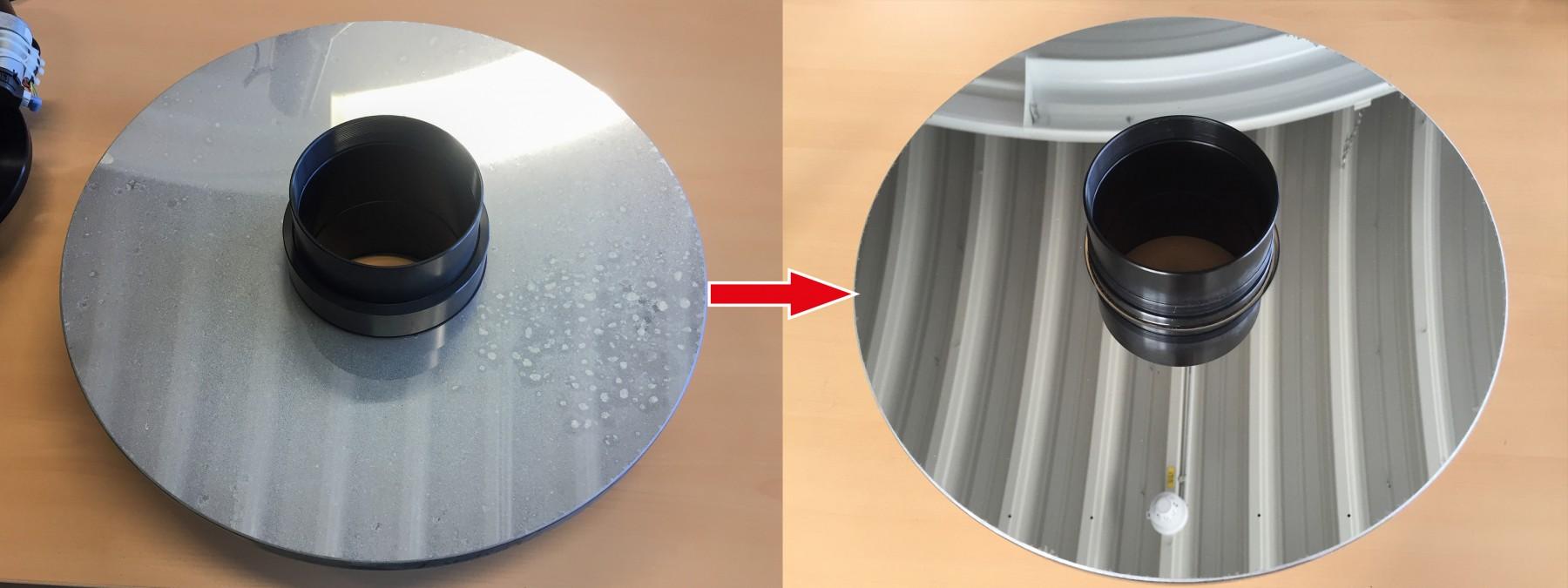 """Anwendungsbild: Vorher/Nachher Bilder der Reinigung eines CDK 17"""" Spiegel nach 5 Jahren intensiver Nutzung ohne einen einzige Reinigung des Kunden."""