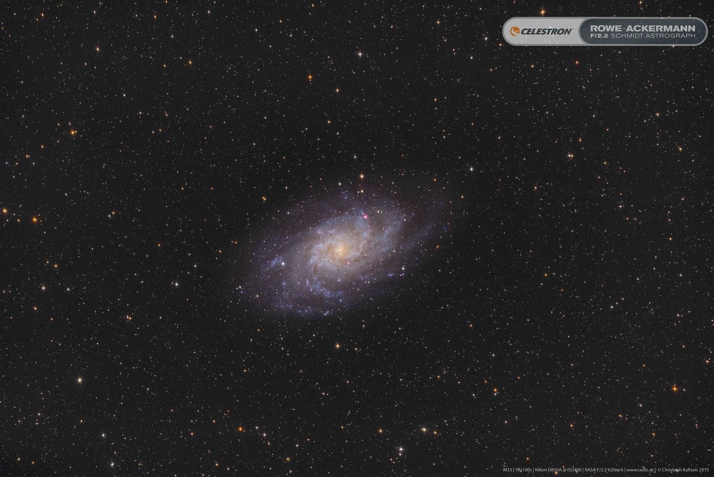 """Anwendung:   M33, fotografiert von Christoph Kaltseis mit dem 11"""" RASA.  18x180 Sekunden."""