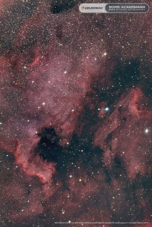 "Anwendung: Der Nordamerikanebel NGC7000, fotografiert von Christoph Kaltseis mit dem 11"" RASA.  18x180 Sekunden."